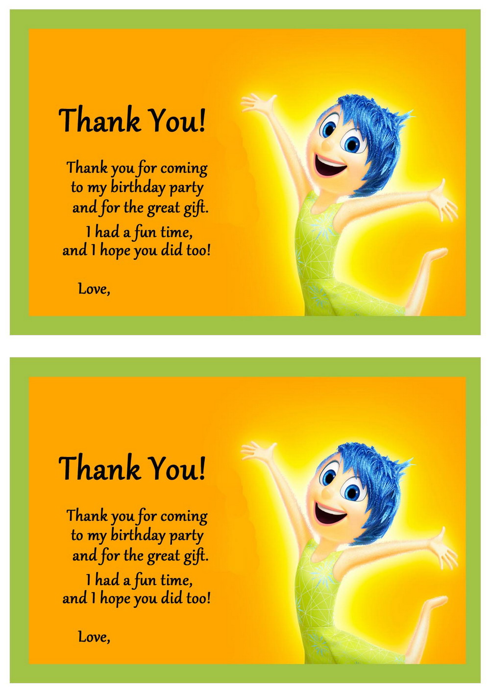 inside out thank you cards  u2013 birthday printable