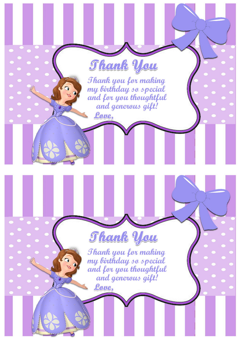 Sofia the first thank you cards birthday printable sofia the first thank you4 st bookmarktalkfo Image collections