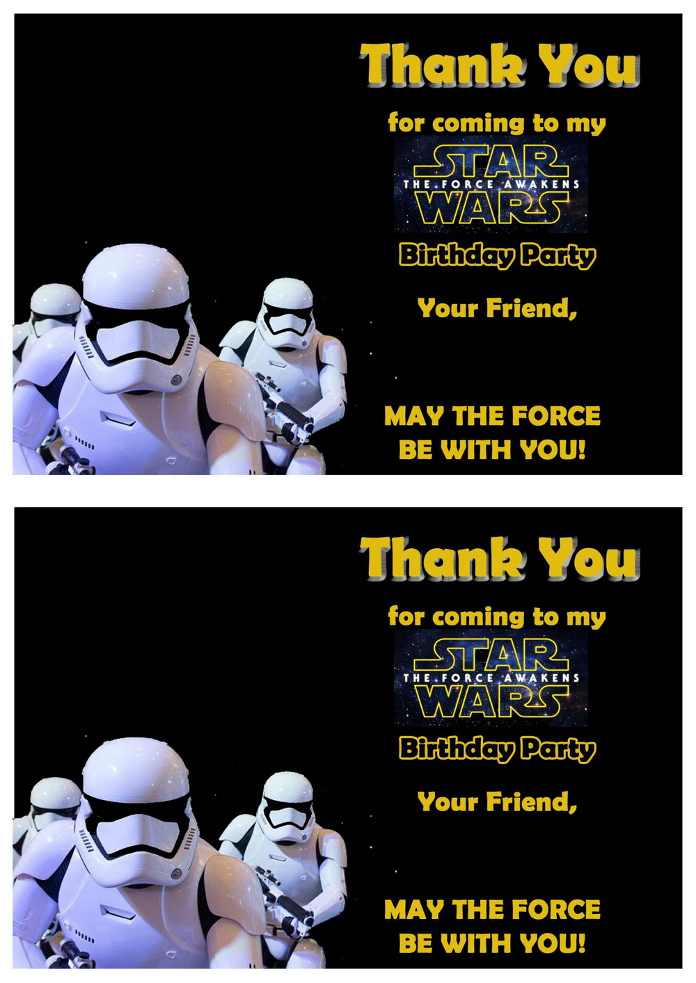 star wars thank you cards