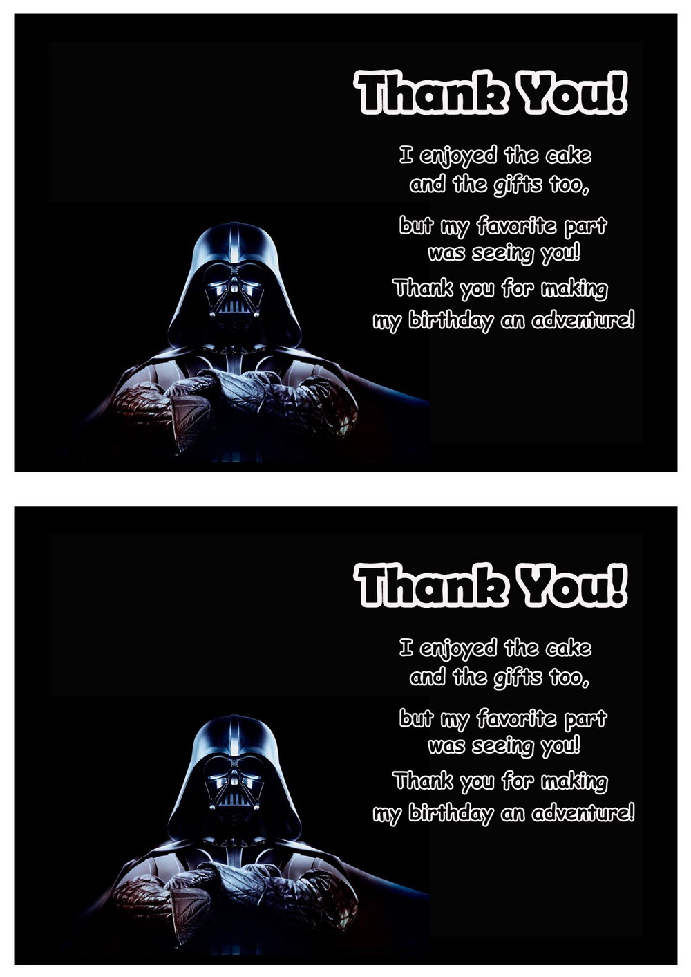 Star Wars Thank you Cards – Birthday Printable