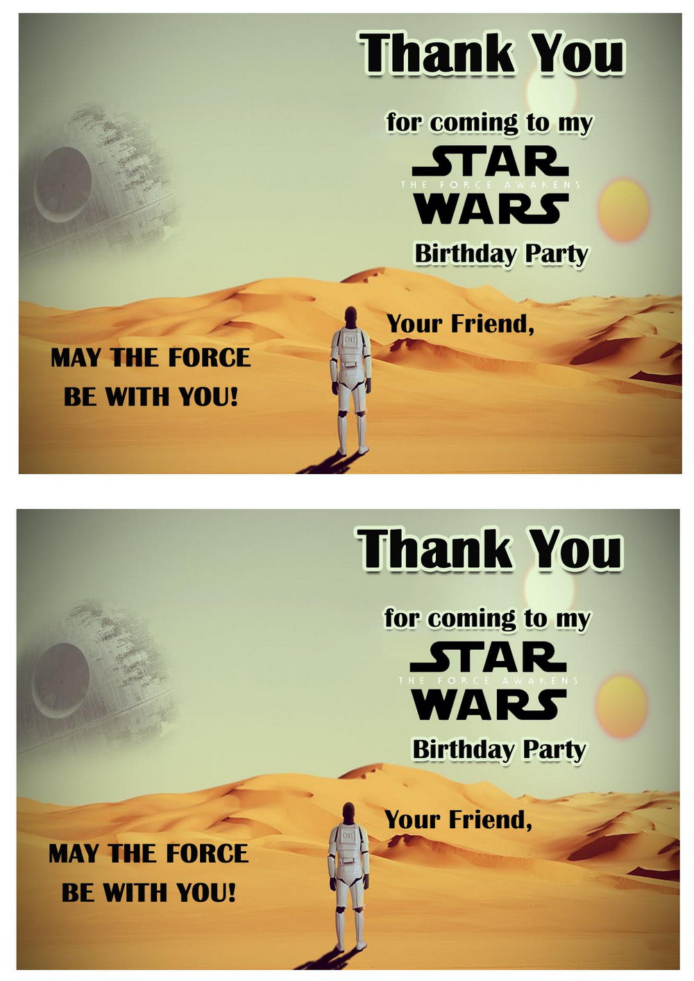 image relating to Star Wars Thank You Cards Printable Free identified as Star Wars Thank by yourself Playing cards Birthday Printable