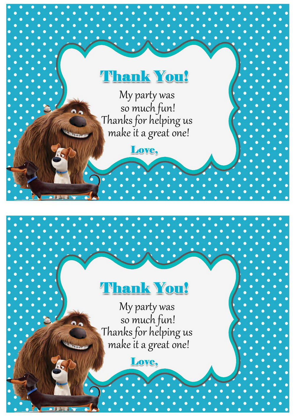 The Secret Life Of Pets Thank You Cards Birthday Printable