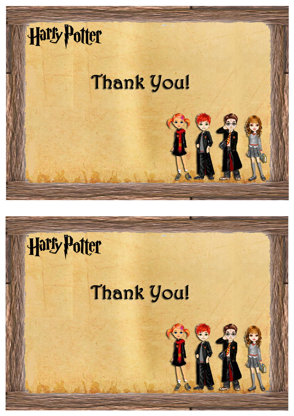 Harry Potter Thank you Cards – Birthday Printable