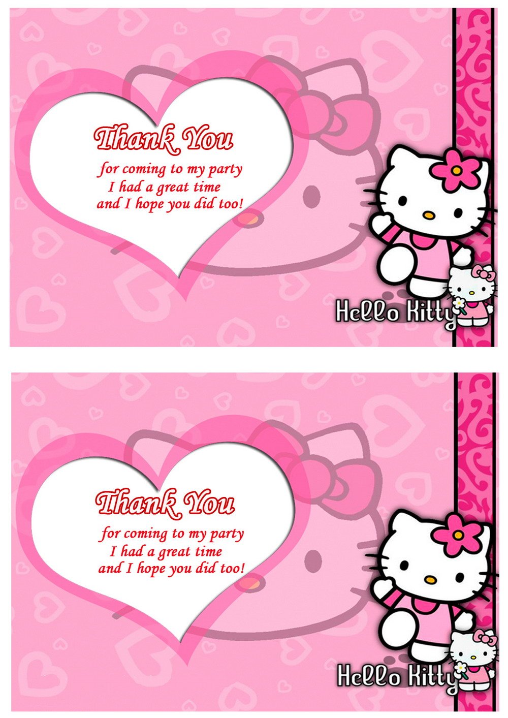 Hello Kitty Thank You Cards Birthday Printable