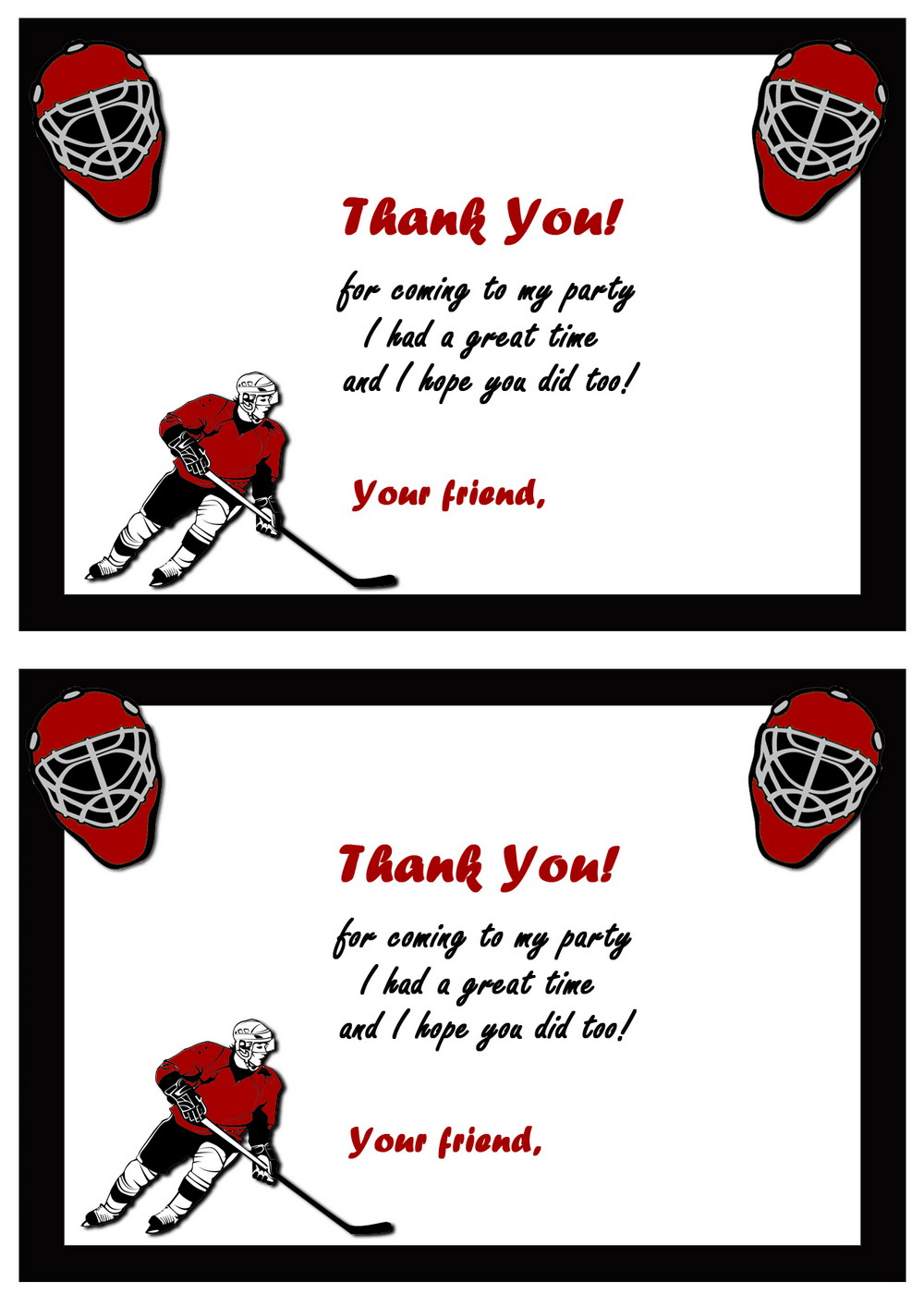 Hockey Thank You Cards Birthday Printable