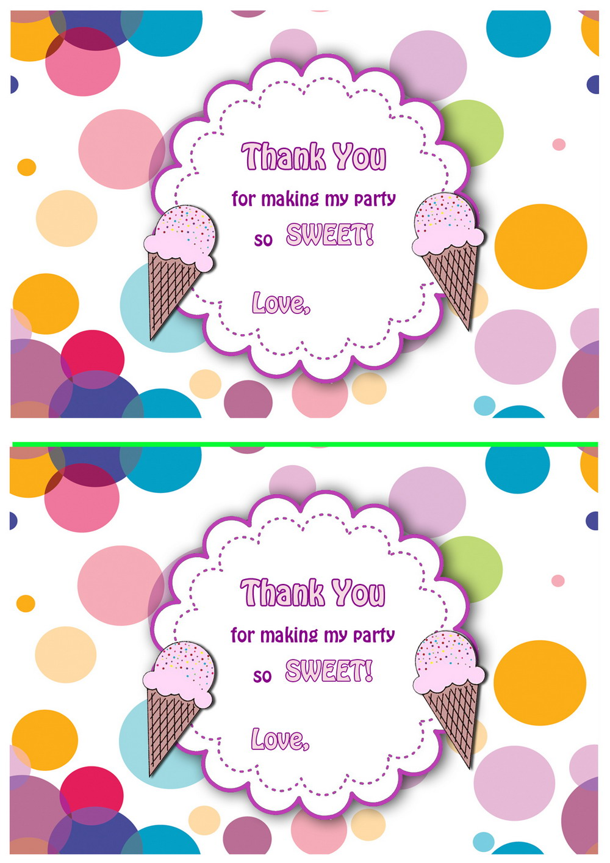 Ice Cream Thank you Cards Birthday
