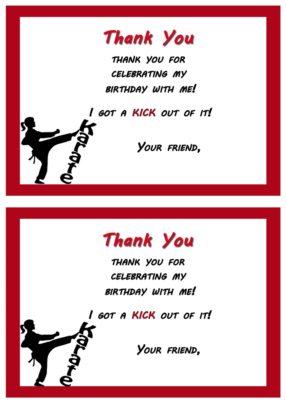 Karate Thank you Cards Birthday