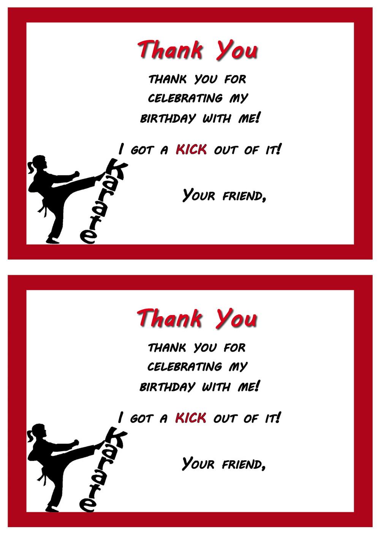 Karate Thank you Cards – Birthday Printable