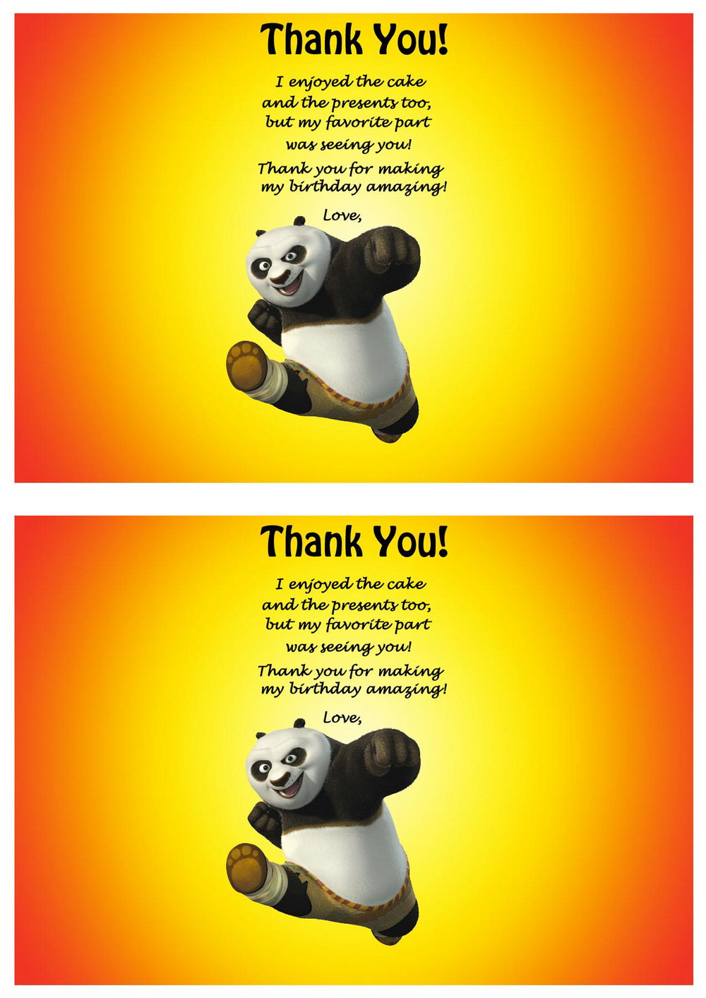 Kung Fu Panda Thank You Cards Birthday Printable