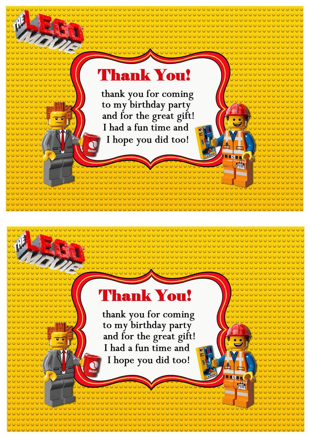 Lego Movie Thank You Cards Birthday Printable