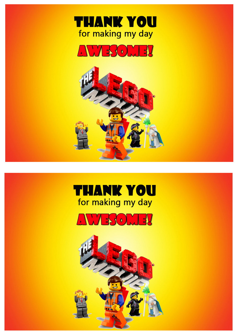 lego movie thank you cards
