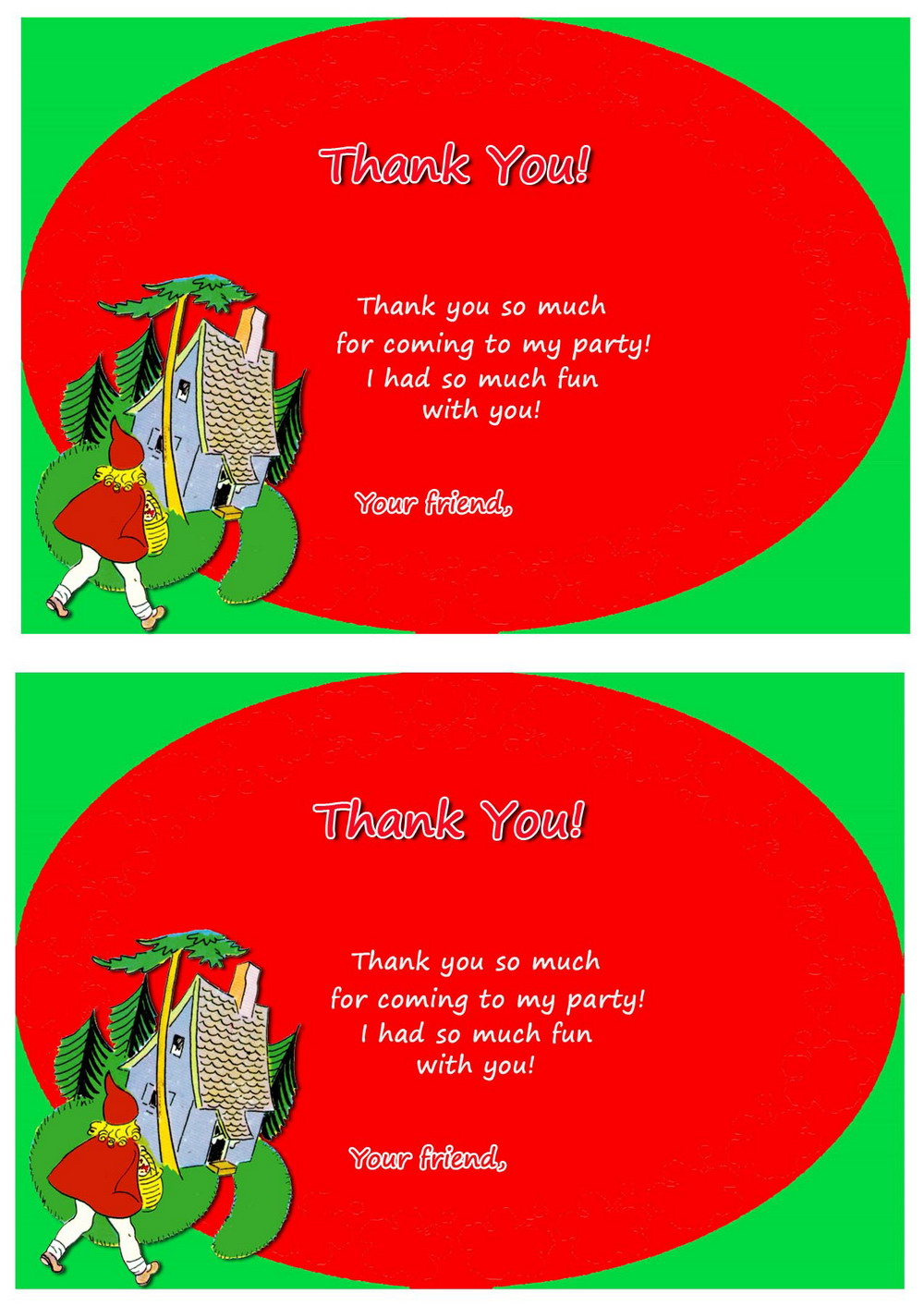Little Red Riding Hood Thank You Cards Birthday Printable