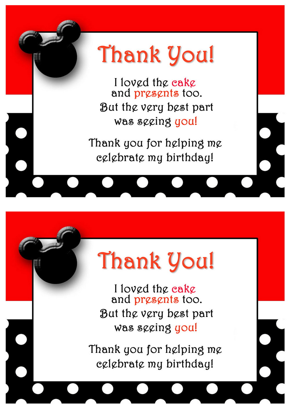 Mickey Thank you Cards Birthday