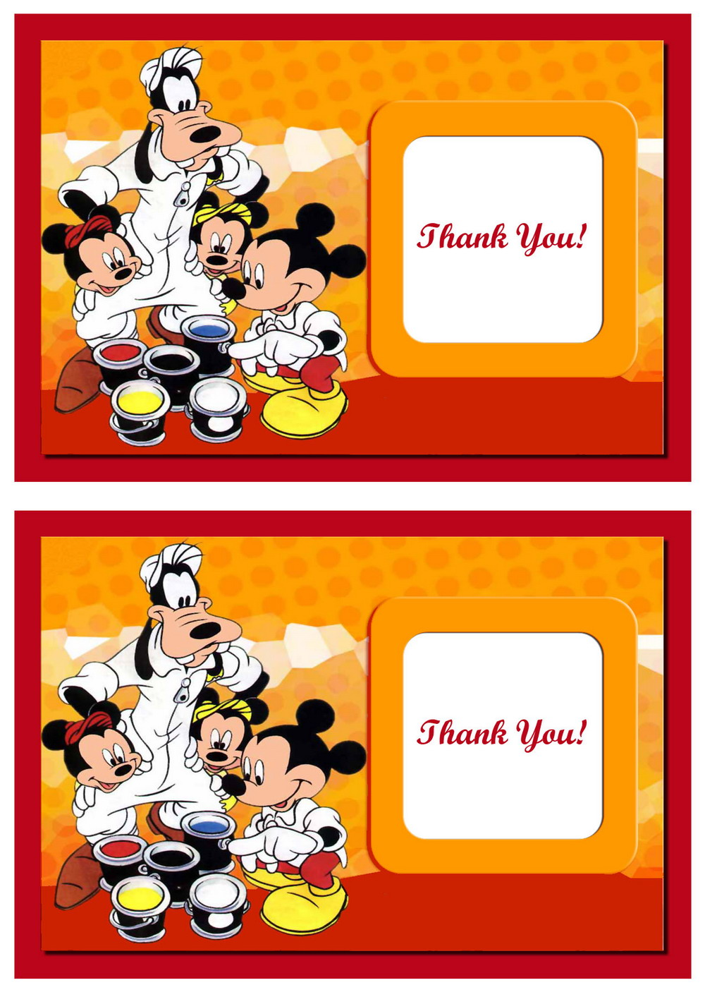 Mickey Thank You Cards Birthday Printable