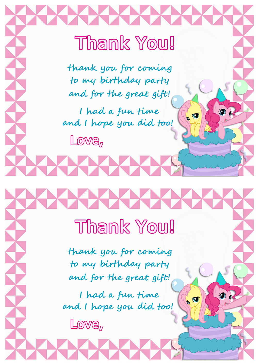 graphic regarding My Little Pony Printable Birthday Cards referred to as My Tiny Pony Thank by yourself Playing cards Birthday Printable