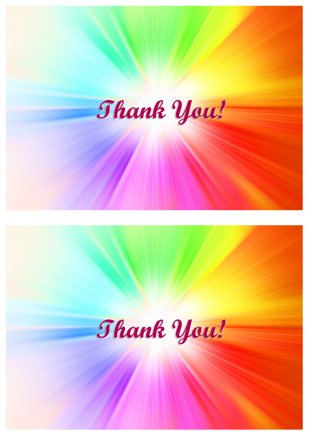 Rainbow Thank You Cards Birthday Printable