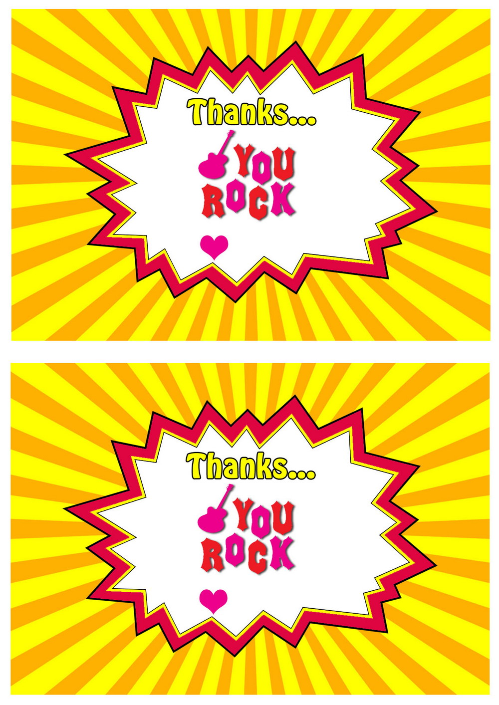 Rock Star Thank You Cards Birthday Printable