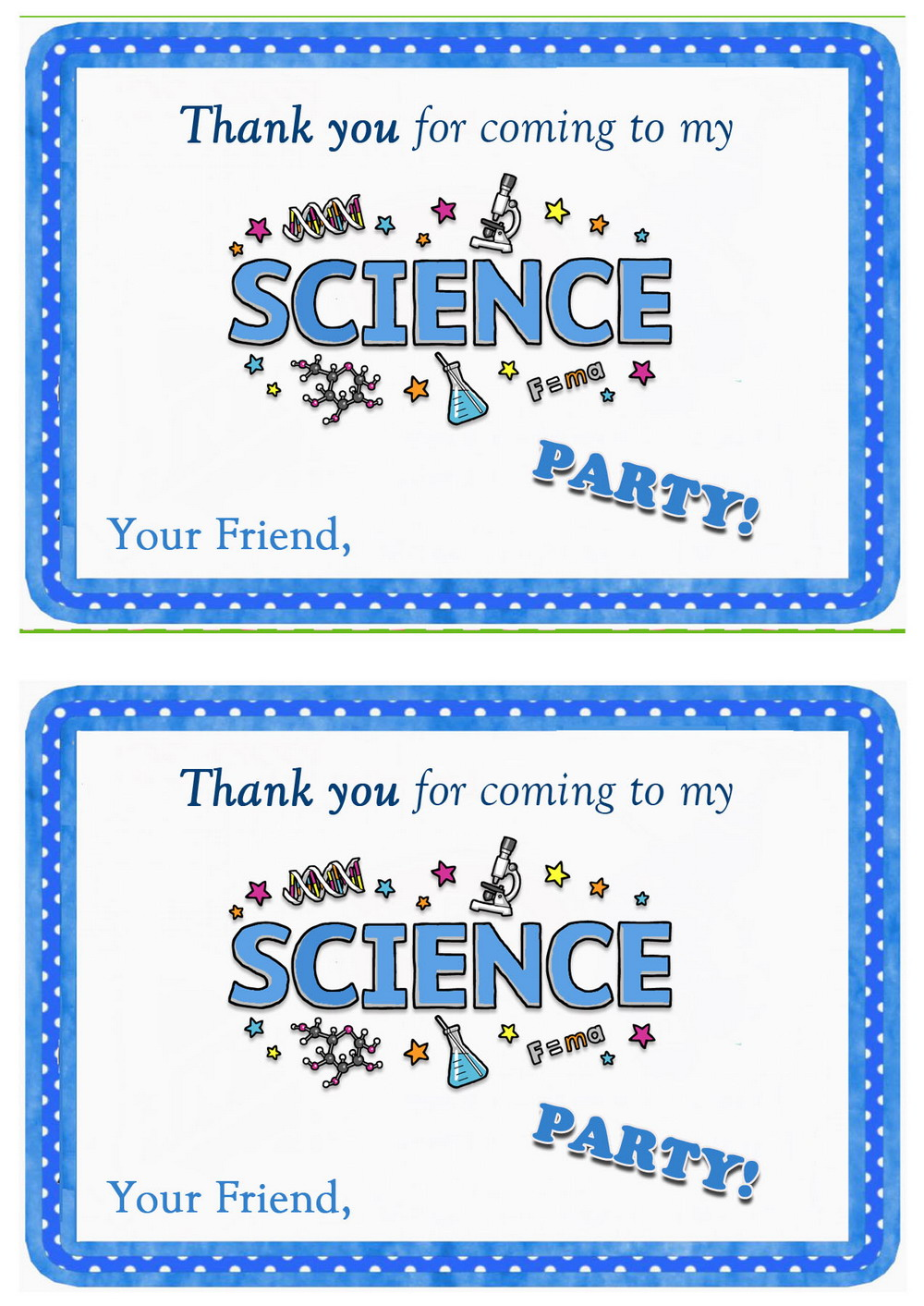 Science Thank You Cards Birthday Printable