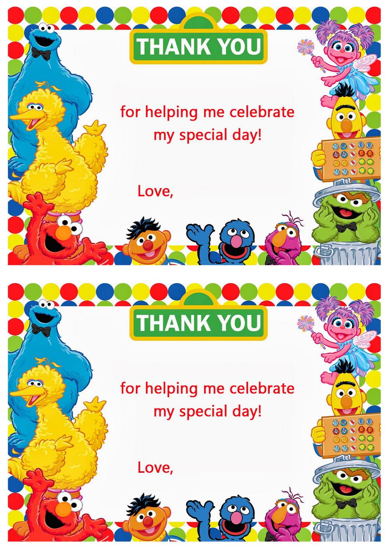 sesame street thank you cards � birthday printable