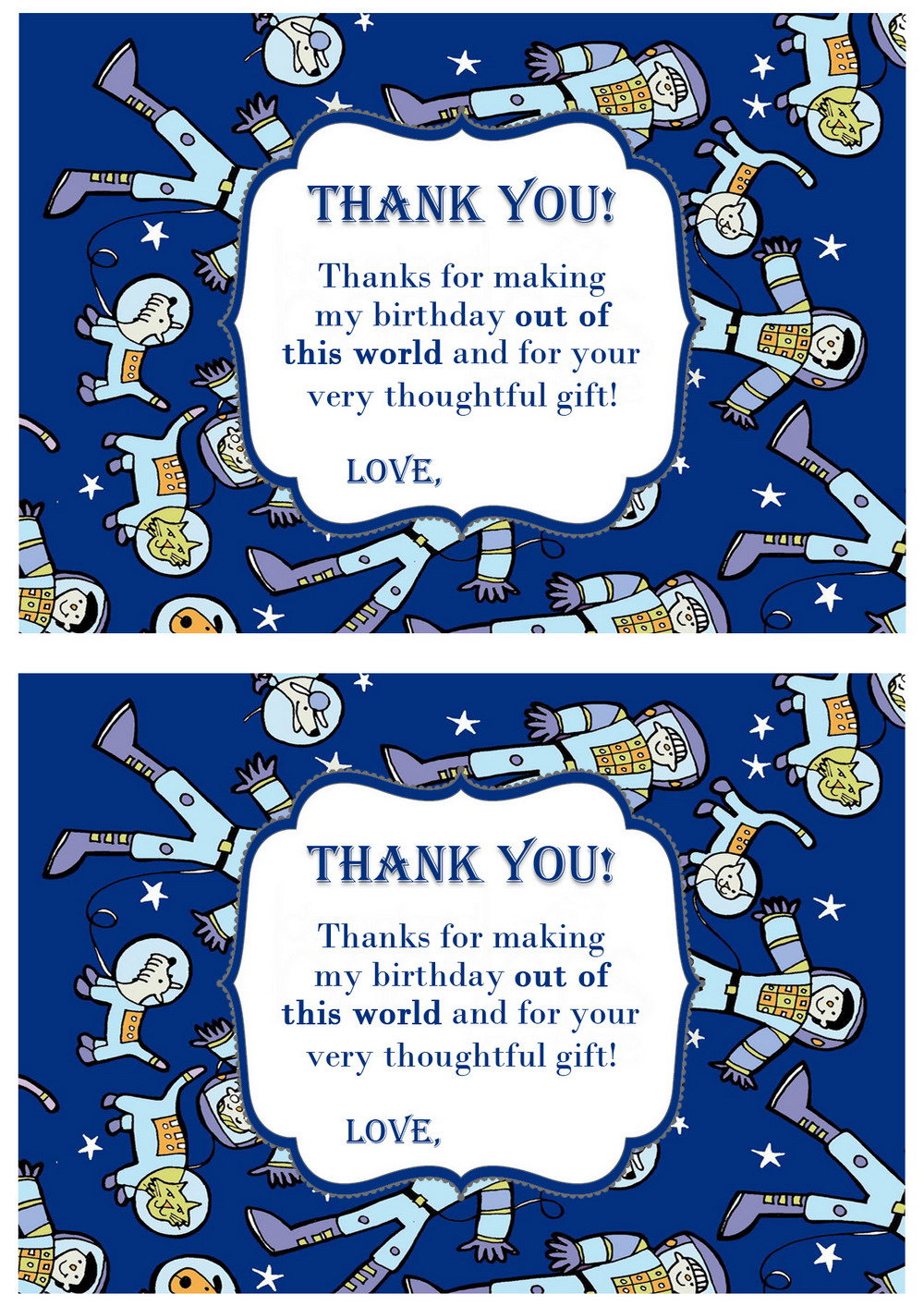 Space Thank You Cards Birthday Printable