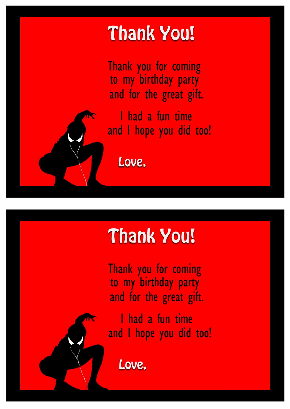 Spiderman Thank you Cards Birthday