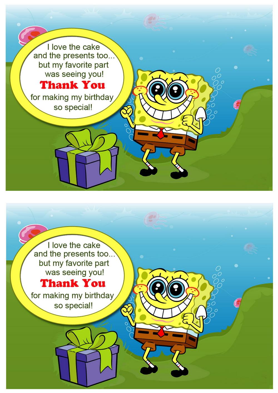 Sponge Bob Thank you Cards – Birthday Printable