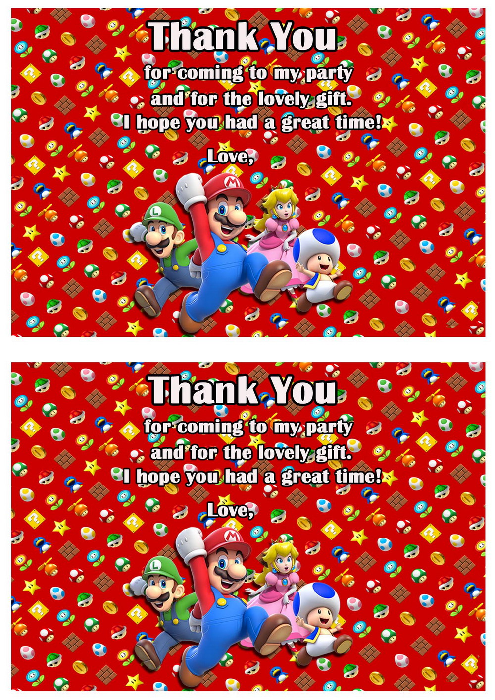 Super Mario Thank You Cards Birthday Printable