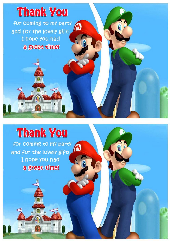 Super Mario Thank You Cards Birthday Printable
