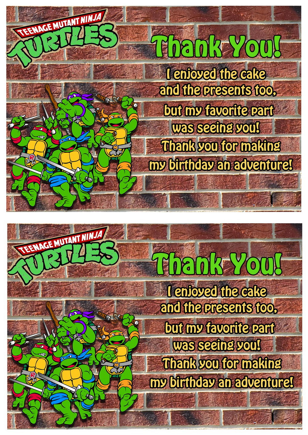 Teenage Mutant Ninja Thank You Cards Birthday Printable