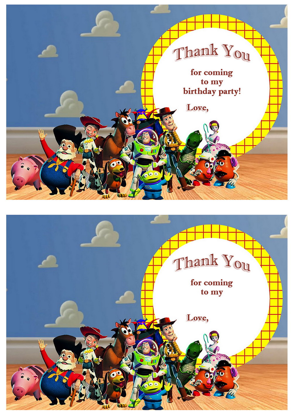 Toy Story Thank you Cards Birthday