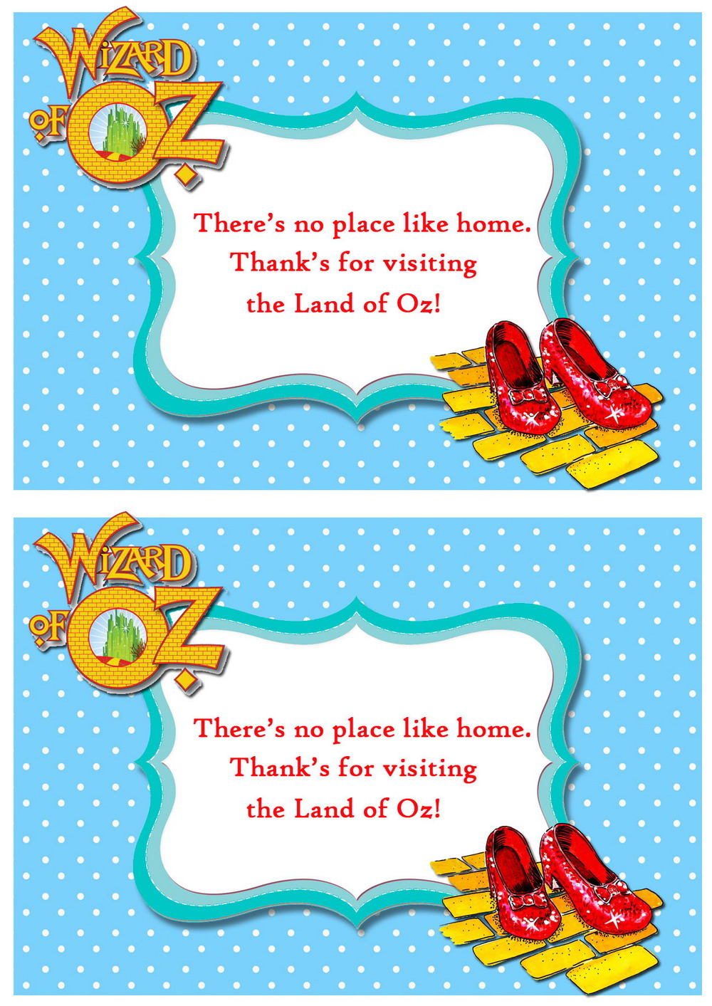 Wizard of Oz Thank you Cards