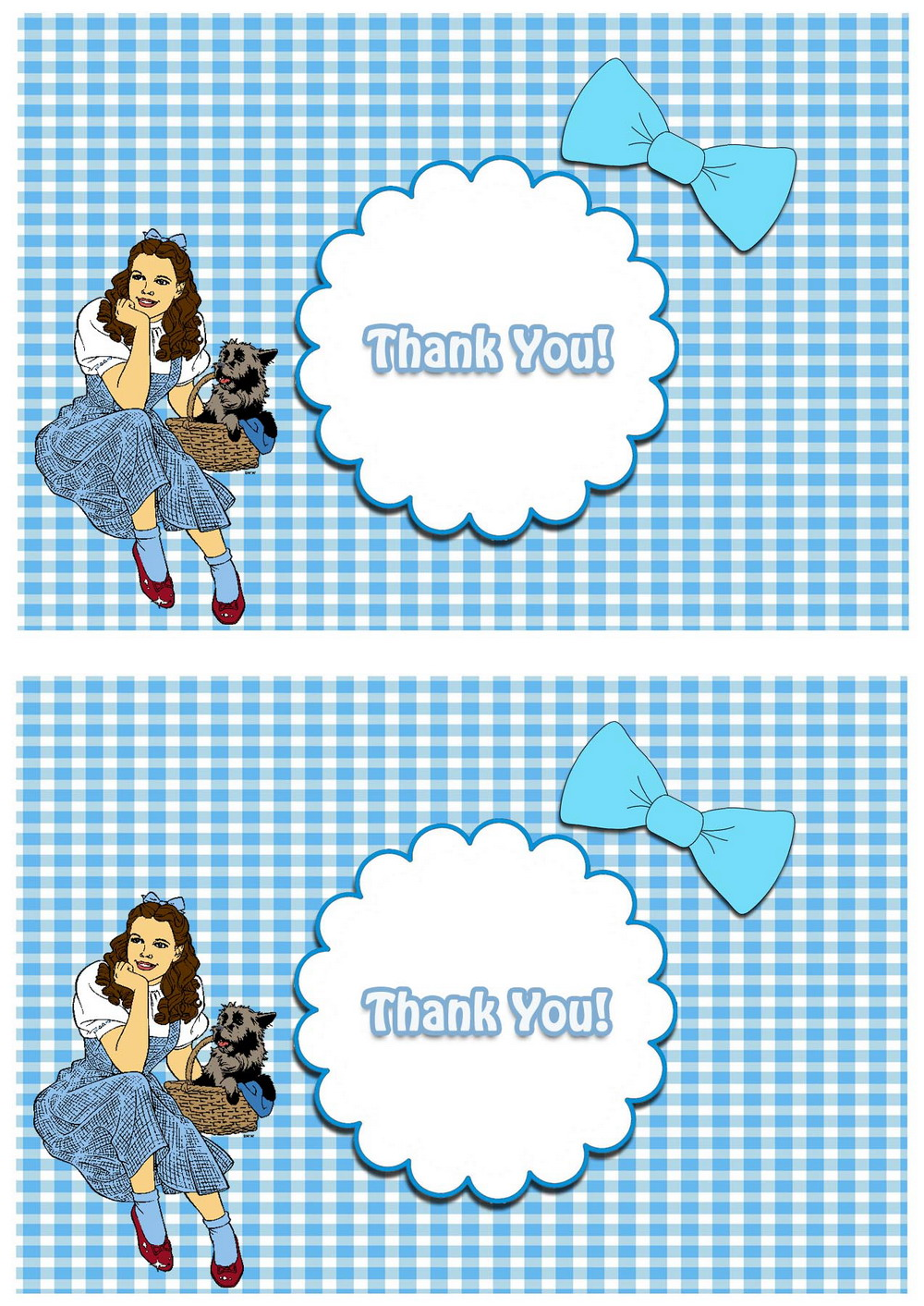 Wizard Of Oz Thank You Cards Birthday Printable