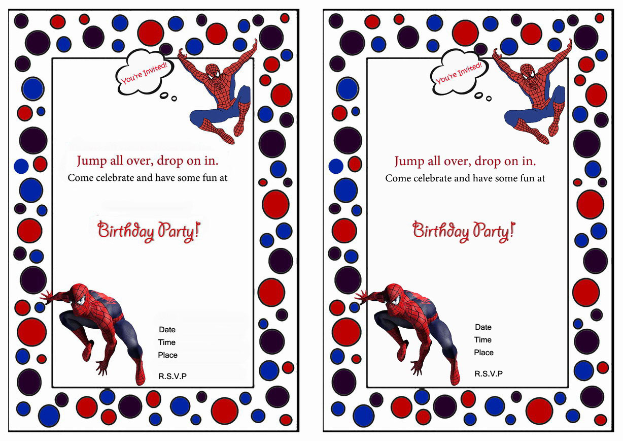 photograph relating to Printable Spiderman Invitations named Spiderman Birthday Invites Birthday Printable