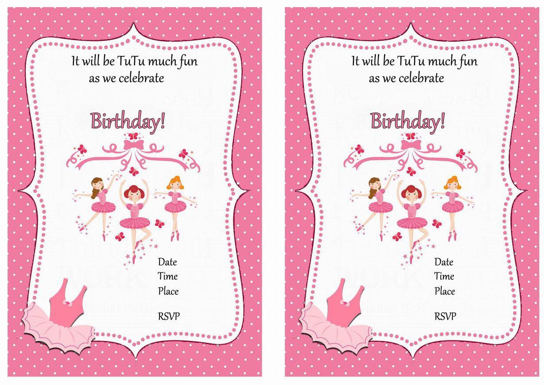 Ballet Birthday Invitations Birthday Printable