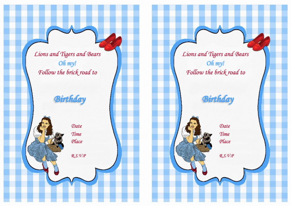 Wizard of Oz Birthday Invitations Birthday Printable
