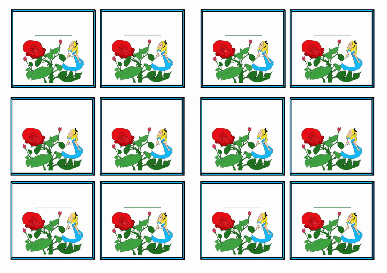 Alice In Wonderland Name Tags Birthday Printable