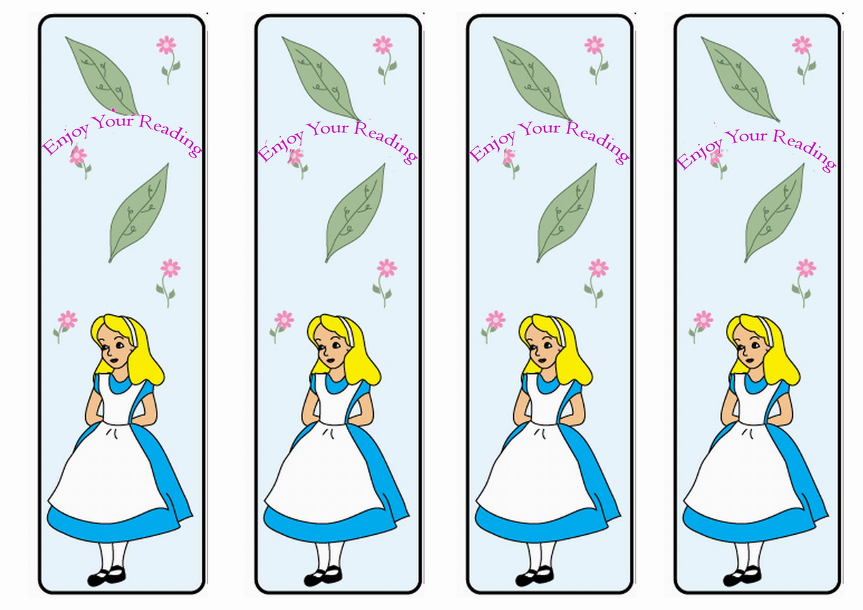 image relating to Alice in Wonderland Printable named Alice in just Wonderland Bookmarks Birthday Printable