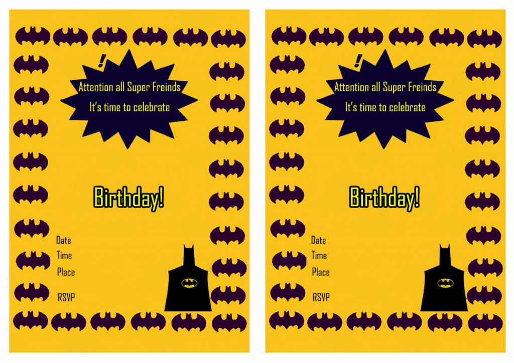 Batman Birthday Invitations Birthday Printable