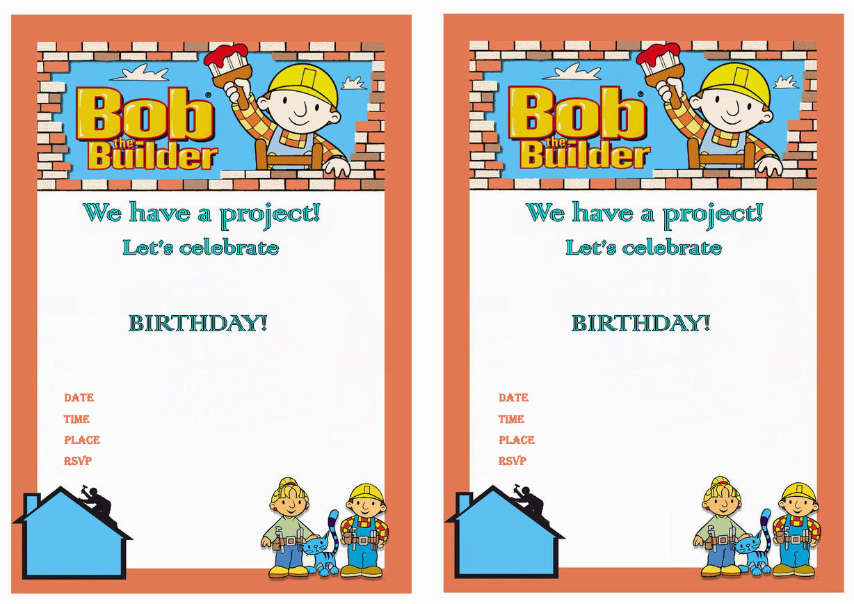 bob the builder birthday invitations birthday printable