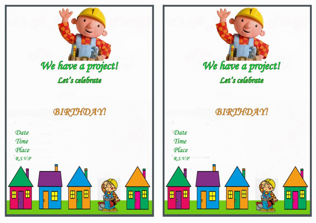 Bob the Builder Birthday Invitations