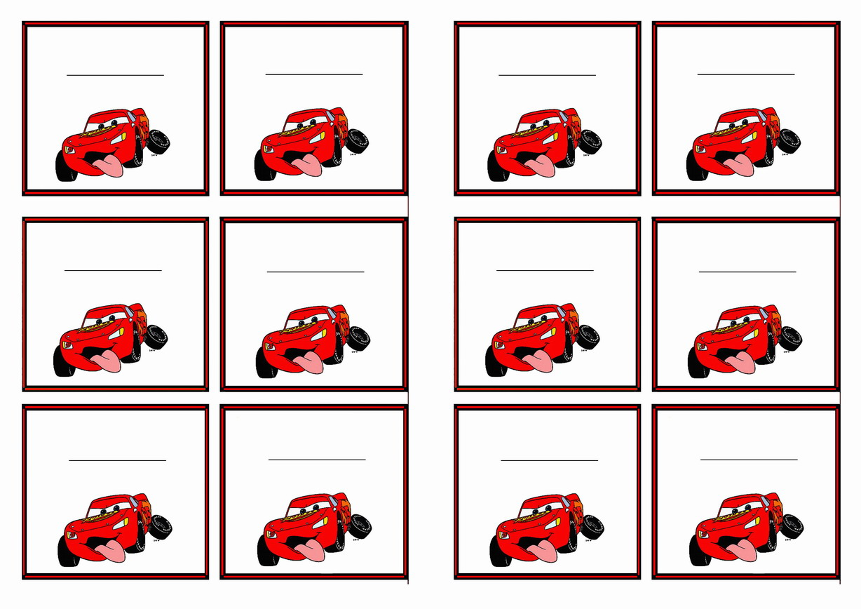 Cars Name Tags Birthday Printable