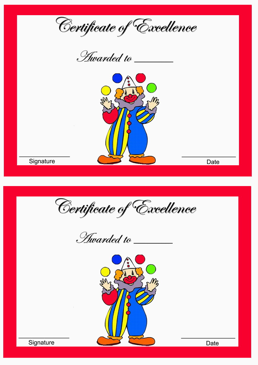 circus awards � birthday printable