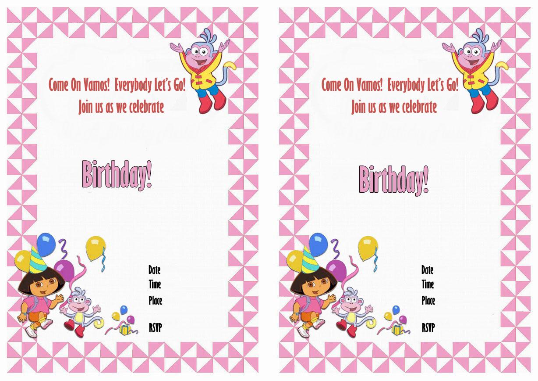 Dora Birthday Invitations Birthday Printable – Dora the Explorer Birthday Invitations