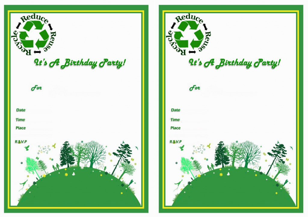 Eco Friendly Birthday Invitations Birthday Printable