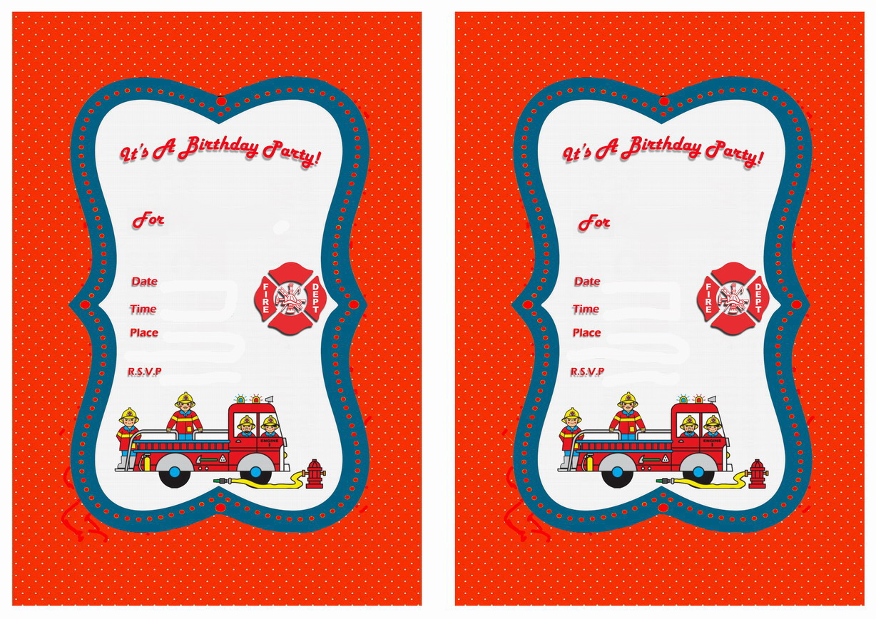 Firefighters Birthday Invitations Birthday Printable – Firefighter Birthday Invitations