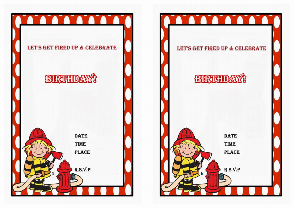 Firefighters Birthday Invitations Birthday Printable