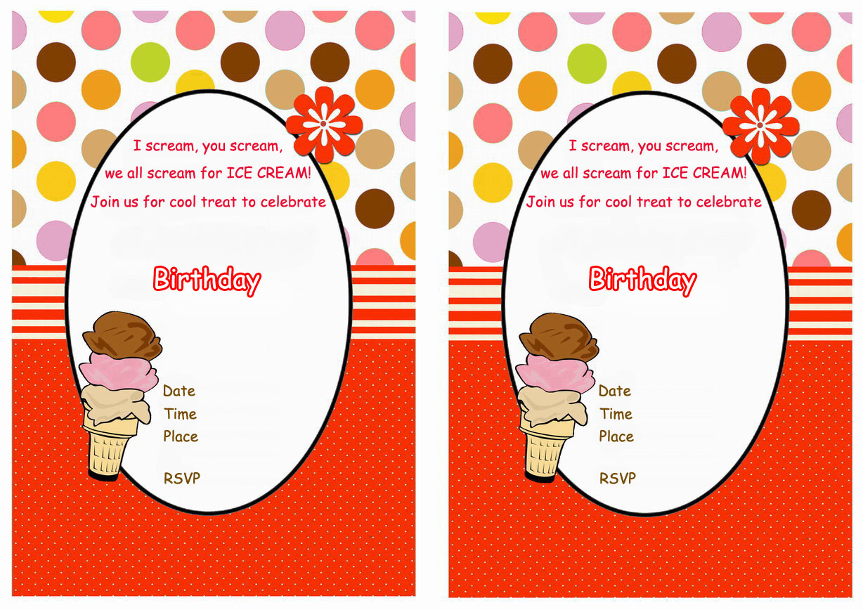ice cream birthday invitations birthday printable