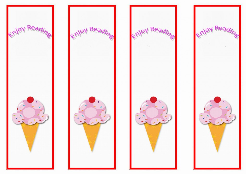 Ice Cream Bookmarks Birthday Printable