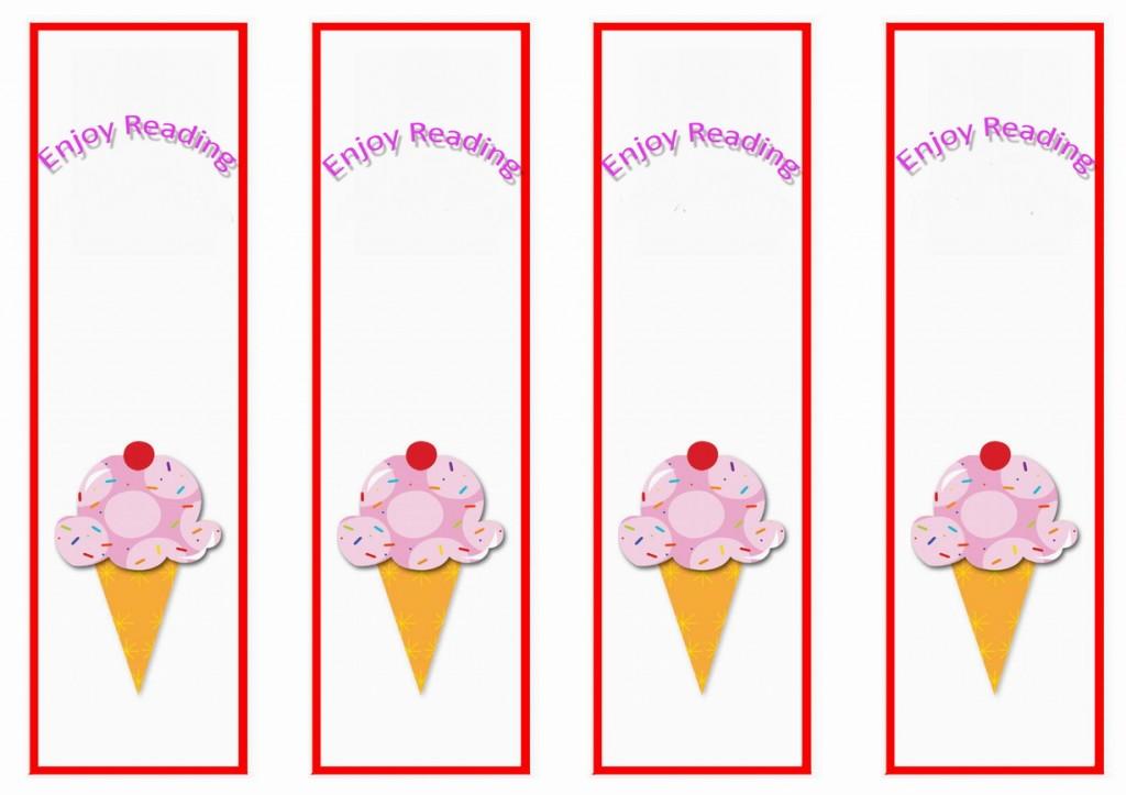 Ice Cream Bookmarks Birthday