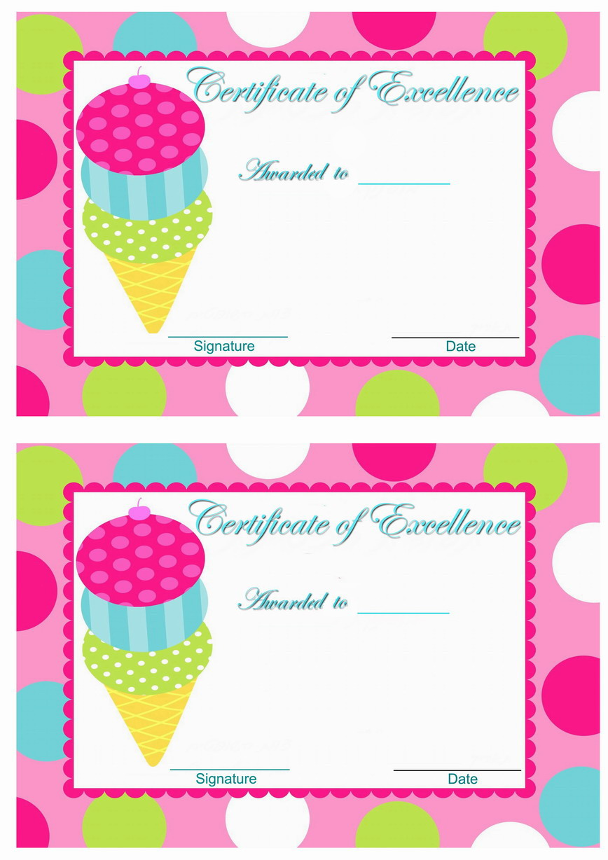 Ice Cream Awards Birthday Printable